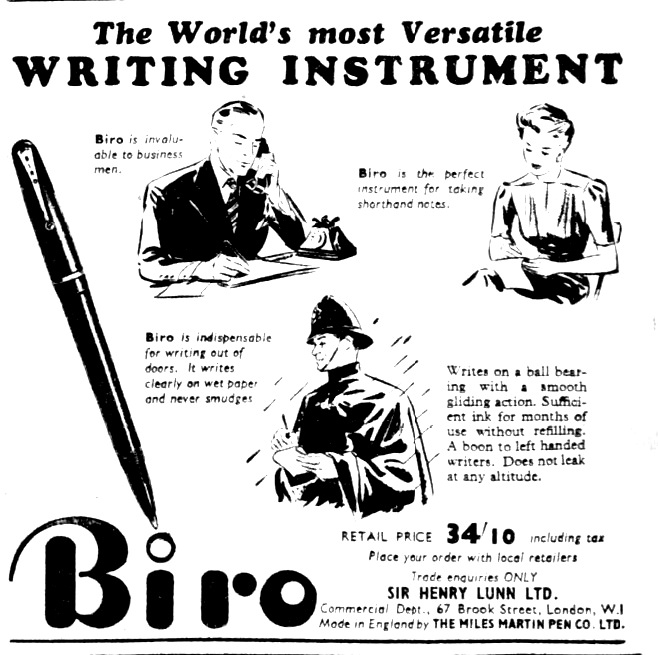 Biro The World's most Versatile WRITING INSTRUMENT